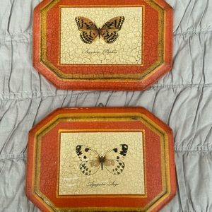 Vintage 70s Wood Orange Butterfly Wall Plaques